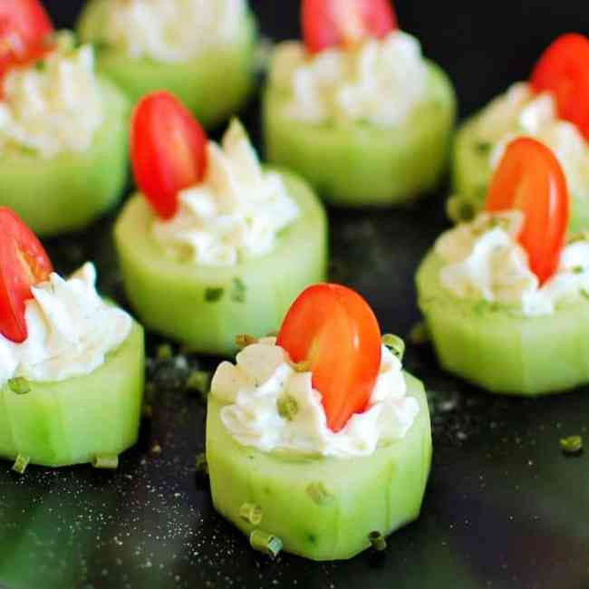 Stuffed cucumber bites.  Top 8 most popular appetizers. | joeshealthymeals.com