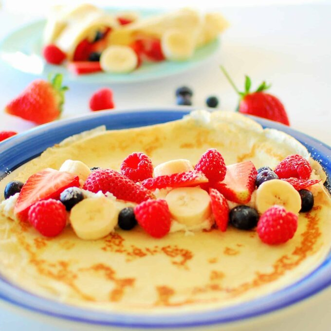 fresh fruit filled crepes