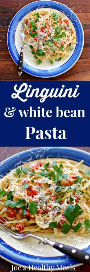 Linguini with white beans pasta collage featuring 2 photos.
