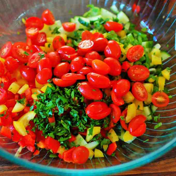Chopped ingredients for Cold Pasta Salad.