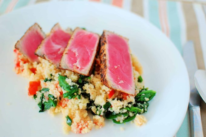 Couscous, spinach