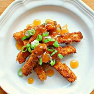 fried eggplant with sweet and sour sauce