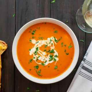 tomato bisque in a bowl