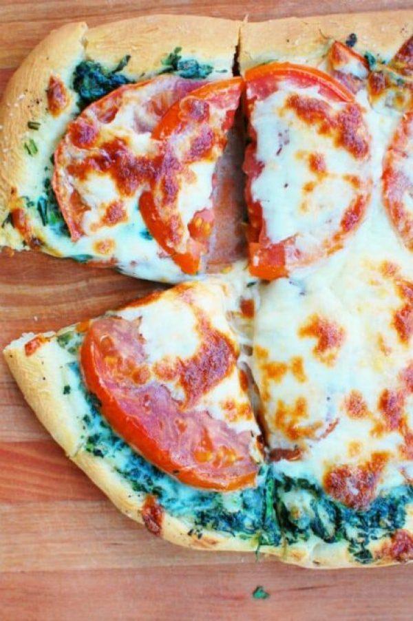spinach tomato pizza. Black Bedroom Furniture Sets. Home Design Ideas
