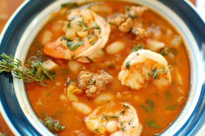 Plated Shrimp and Sausage Stew - you will fall in love with this recipe! This stew is amazingly good and easy to make. | joeshealthymeals.com
