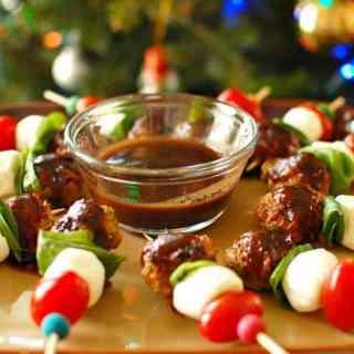 Honey Balsamic Italian Chicken Meatball Kabobs