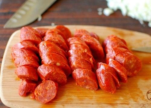 Sliced chorizo ready soup pot. | joeshealthymeals.com
