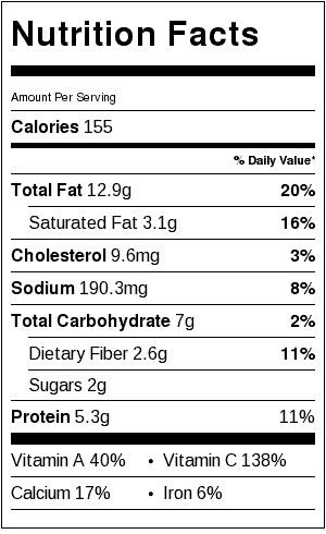 Curly kale salad nutrition label