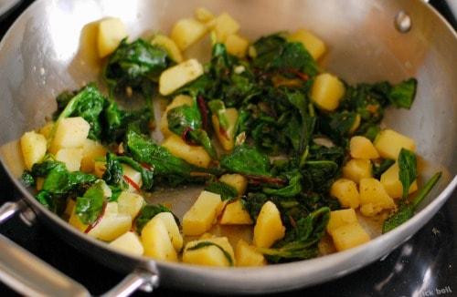 Potatoes and spinach.   joeshealthymeals.com