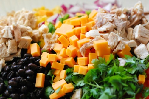Tex-Mex chopped salad. Made with my copycat Newman's Own Southwest Dressing recipe. | joeshealthymeals.com