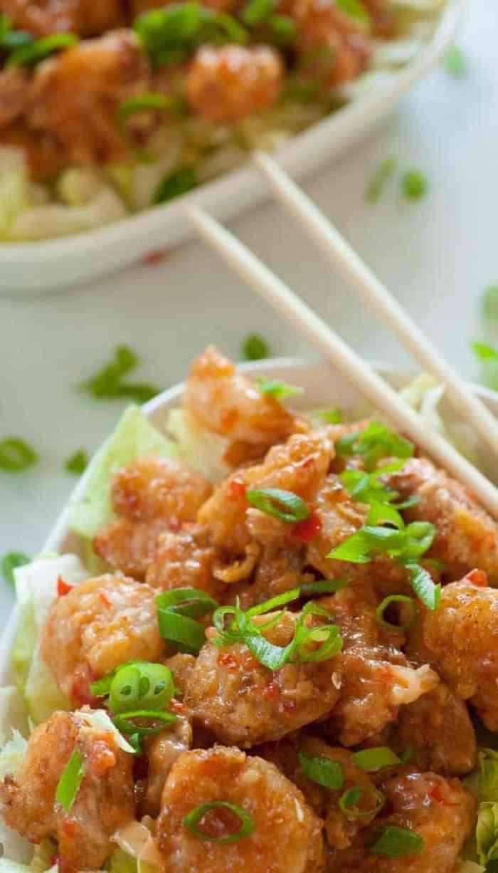 Bang bang shrimp copycat recipe with shrimp ready to eat.