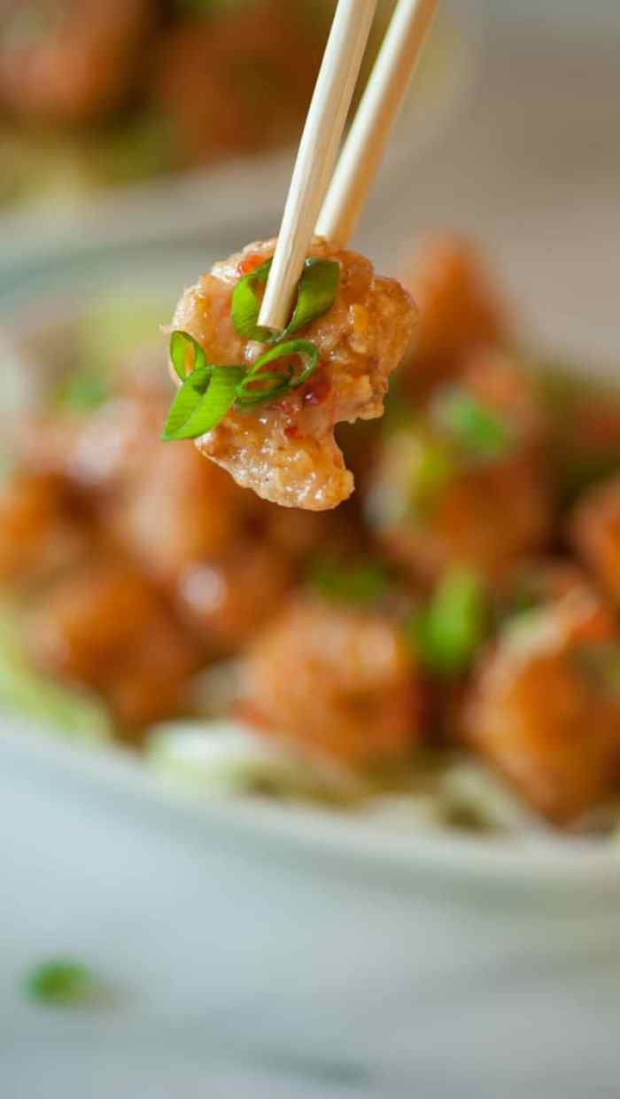 Close up of the fried shrimp.