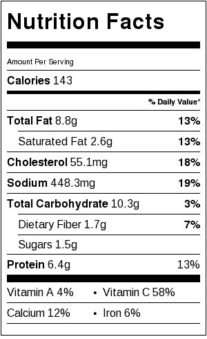 fried cauliflower patties nutrition label