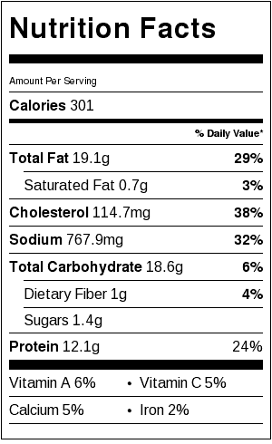 bang bang shrimp nutrition label