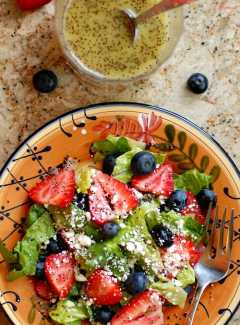 Strawberry salad with homemade poppy seed dressing.