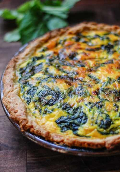 Vegetarian spinach potato quiche. Easy to make quiche which is super flavorful and satisfying.   joeshealthymeals.com