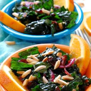 Kale Salad with Cranberry Orange Dressing. | joeshealthymeals.com