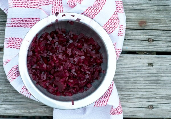 Diced beets.