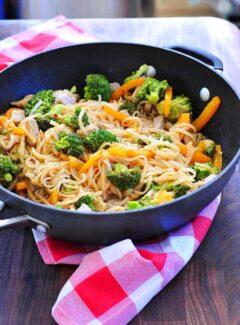 Stir fried pork with rice noodles.   joeshealthymeals.com
