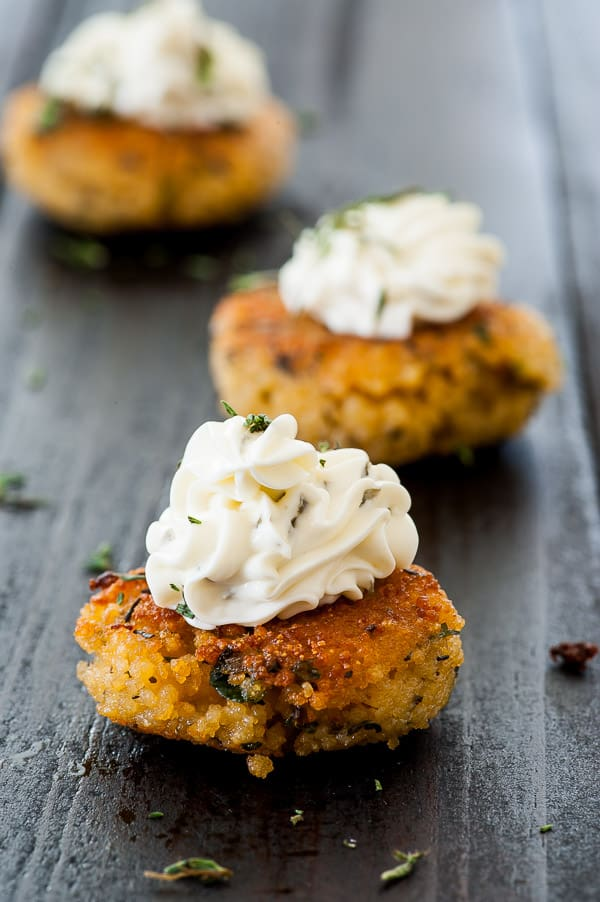 Couscous patty with cream cheese. Great appetizer recipe. | joeshealthymeals.com