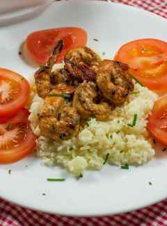 Marinated grilled shrimp with key lime beurre blanc
