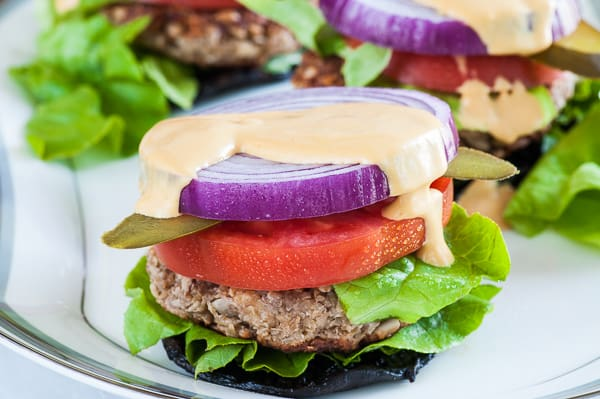 Oat burger on Portobello cap. Satisfying vegetarian burger. | joeshealthymeals.com