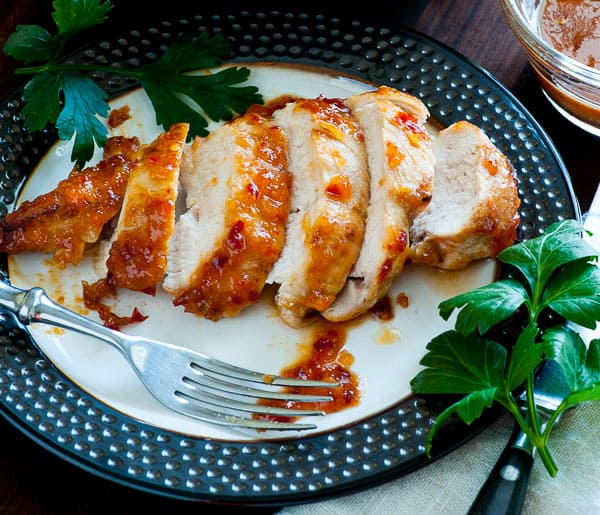 Apricot-chili glazed chicken breasts. Delightfully spicy and easy to prepare recipe for chicken breasts.   joeshealthymeals.com
