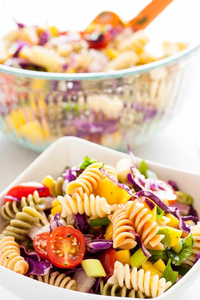 Cold mango pasta salad. Refreshing and simple, this is a great summertime salad to have with any meal.   joeshealthymeals.com