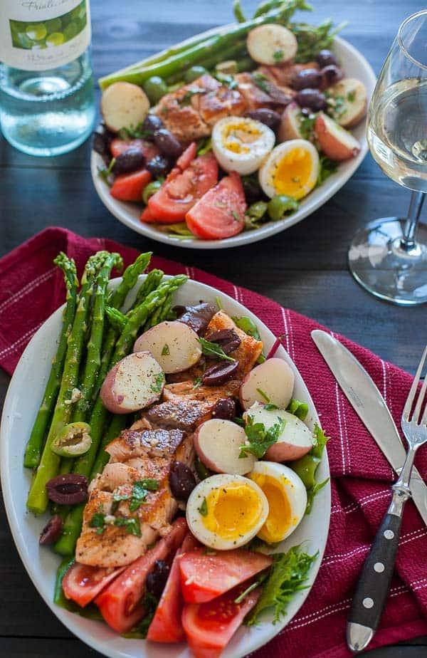 Seared salmon salad nicoise. Springtime recipe that is tasty and the vinaigrette rocks. | joeshealthymeals.com