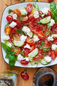 Cucumber balsamic caprese salad. Next time you make a caprese salad, reduce the balsamic vinegar to boost the flavor and add in some cucumber. | joeshealthymeals.com