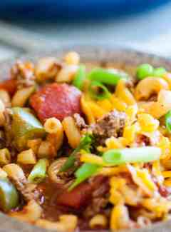 One Pot Goulash is a perfect meal for a fall evening. | joeshealthymeals.com