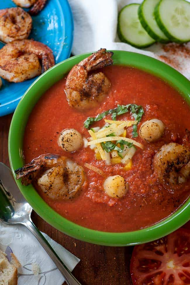 Summertime Seafood Gazpacho. Try this tasty recipe for gazpacho with shrimp and scallops. It's a summertime treat. | joeshealthymeals.com