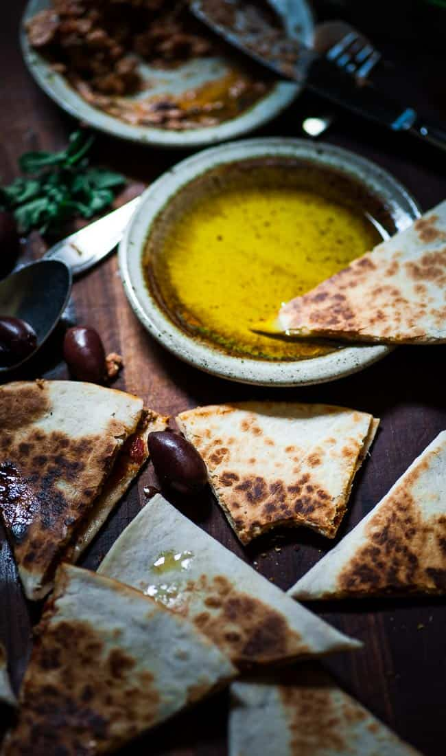 Meditterranean style quesadillas. This is the easiest and most tasty appetizer ever. Give it a try! | joeshealthymeals.com