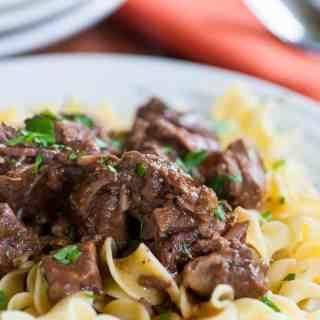 Tender Beef Tips on Egg Noodles