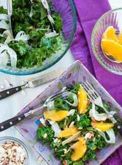 Kale fennel salad with orange balsamic dressing. | joeshealthymeals.com