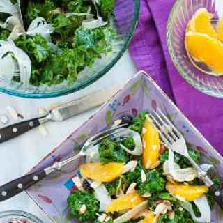 Kale fennel salad with orange balsamic dressing. | joeshealthymeals.com