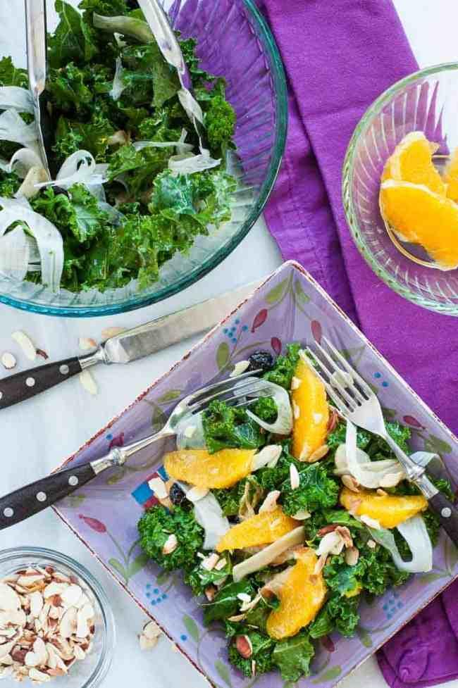 Kale fennel salad with an orange and balsamic dressing. | joeshealthymeals.com