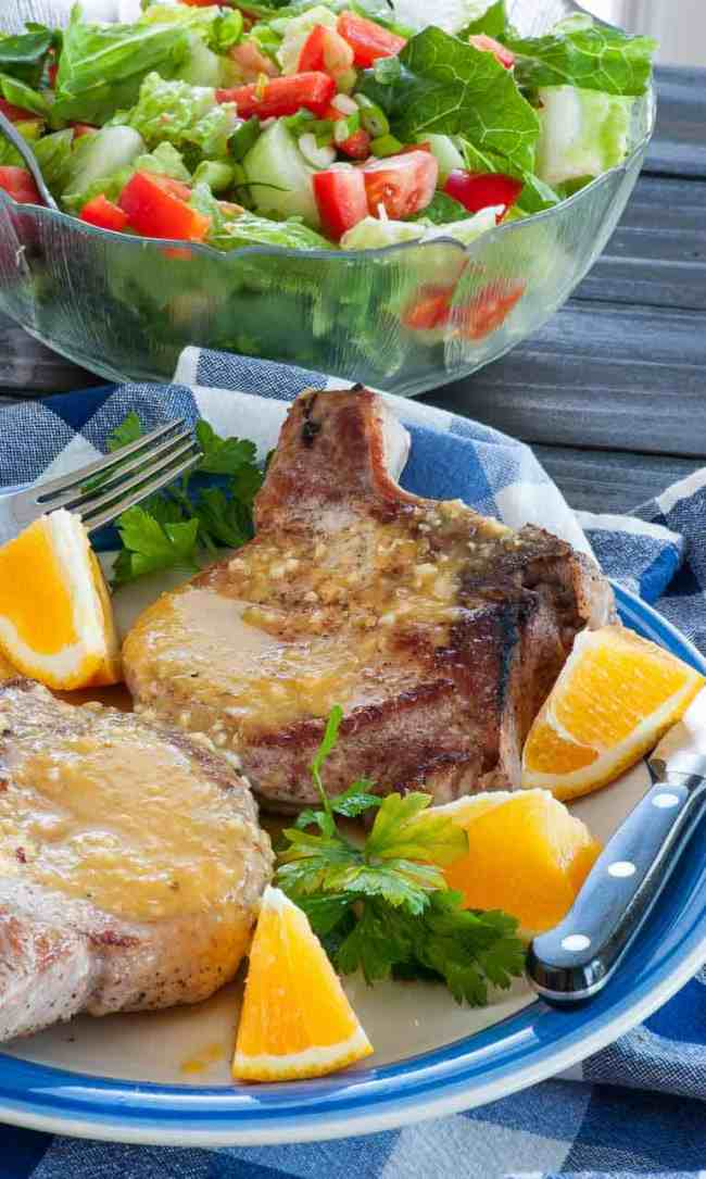 Orange sauce on pan fried pork chops. Mix this fast and easy orange glaze and have pork chops in 15 minutes. | joeshealthymeals.com