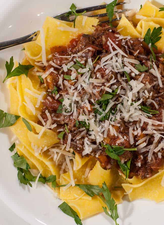 Pappardelle with beef ragout closeup | joeshealthymeals.com