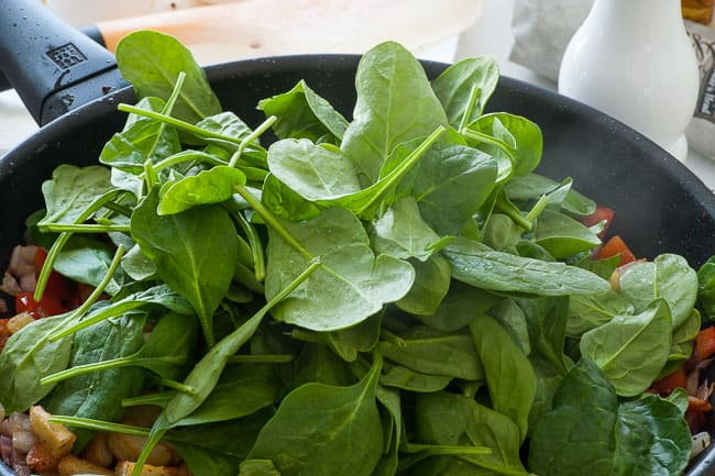 Baby spinach to wilt into the breakfast hash.