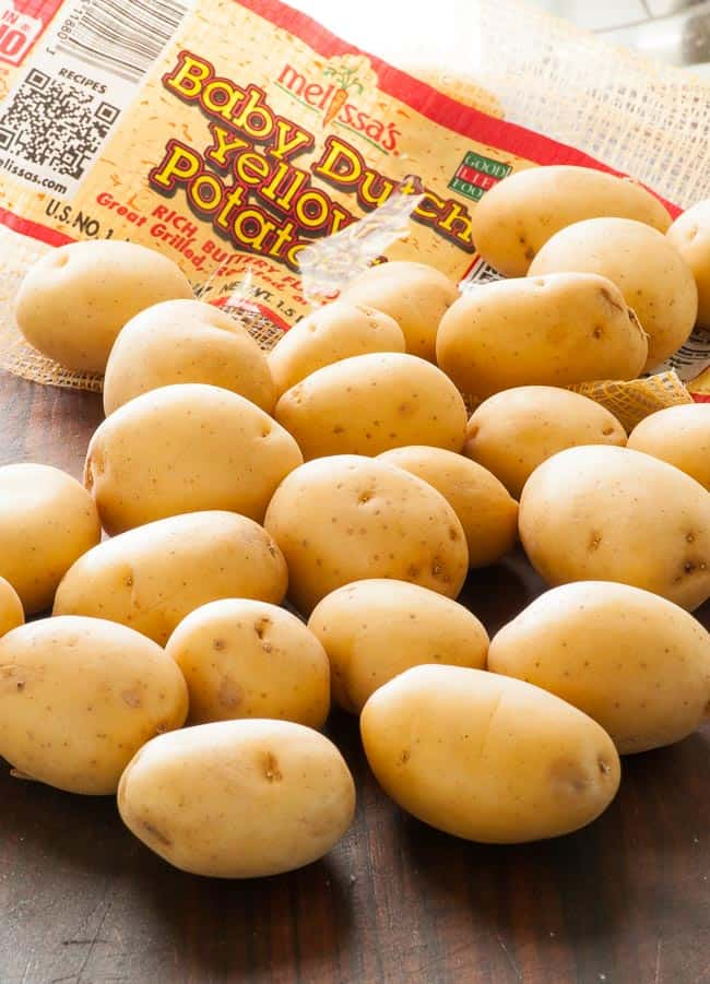 Baby yellow potatoes for warm potato salad. | joeshealthymeals.com