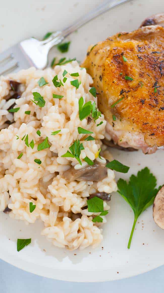 Mushroom risotto with fried chicken thigh. | joeshealthymeals.com