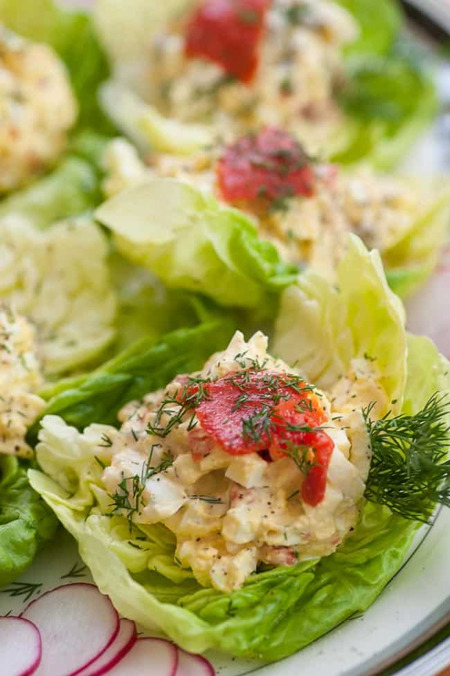 Ready to eat Smoked salmon egg salad lettuce wraps. | joeshealthymeals.com