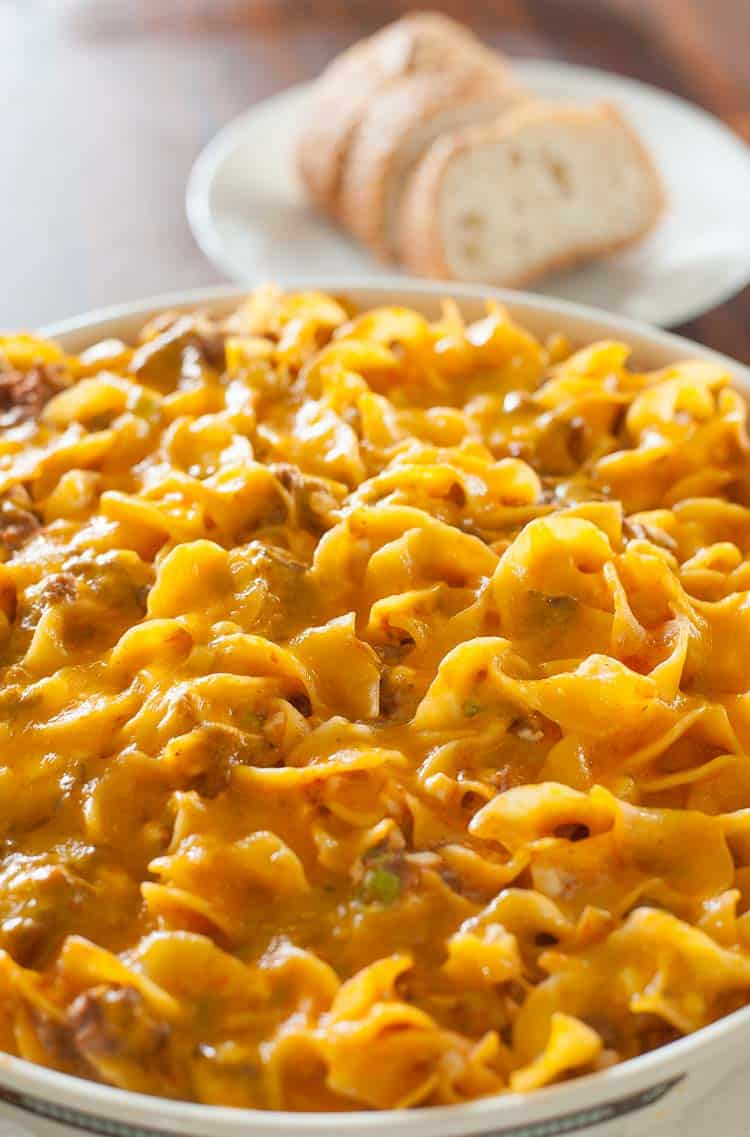 Cheesy beef casserole out of the oven. | joeshealthymeals.com