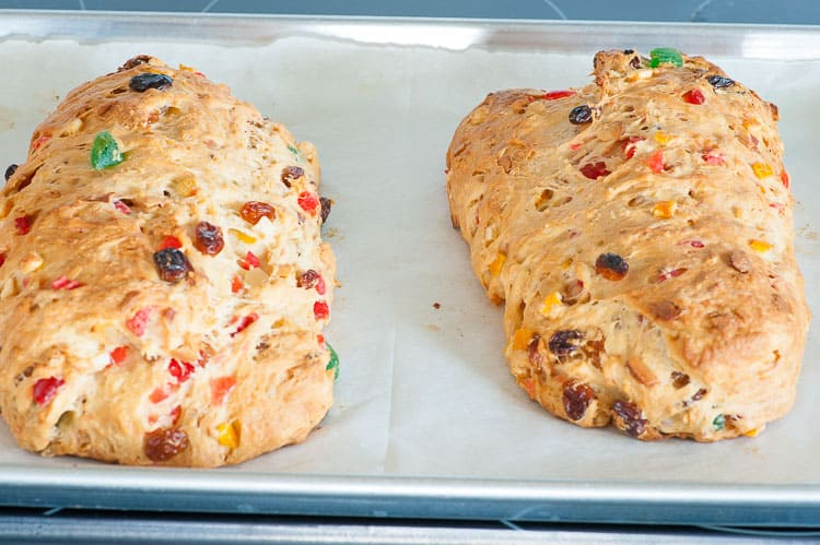 Baked German Christmas stollen loaves.