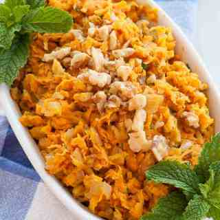 Sauteed shredded sweet potatoes is a perfect side dish kicked up with onions and walnuts. | joeshealthymeals.com