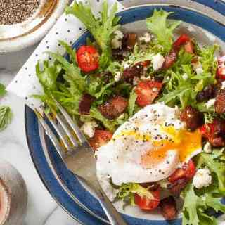 Curly Endive Lettuce Salad with Bacon and Poached Egg
