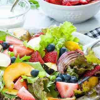 Fresh Garden Greens Salad with Fruit and Yogurt Dressing