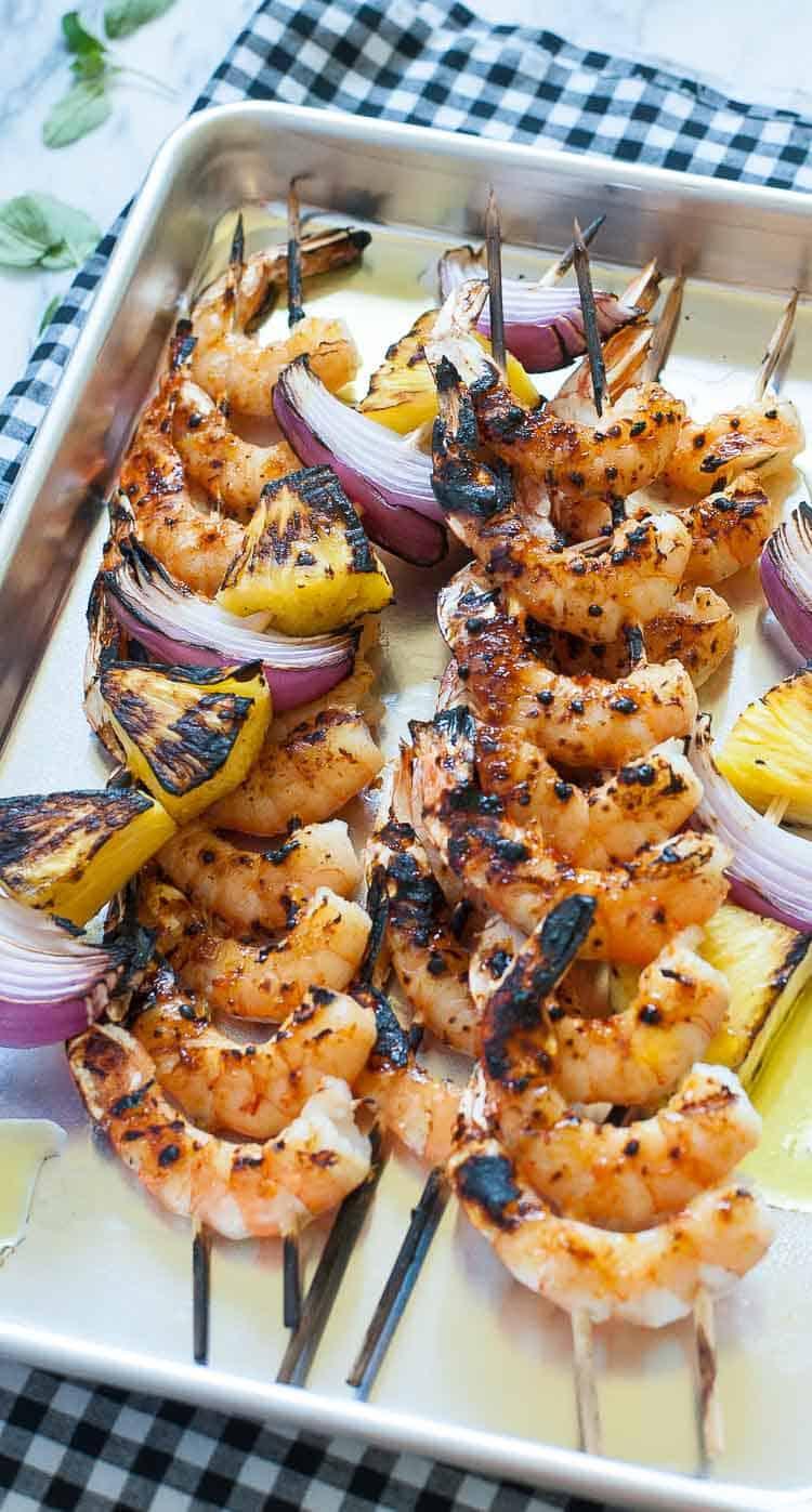 Grilled shrimp kabobs with orange glaze.   joeshealthymeals.com