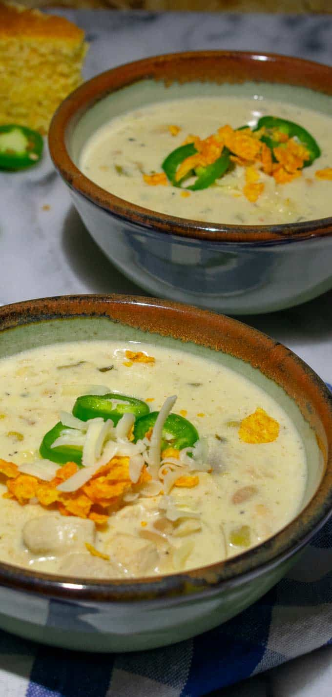 Creamy white chicken chili...super satisfying Fall time meal.